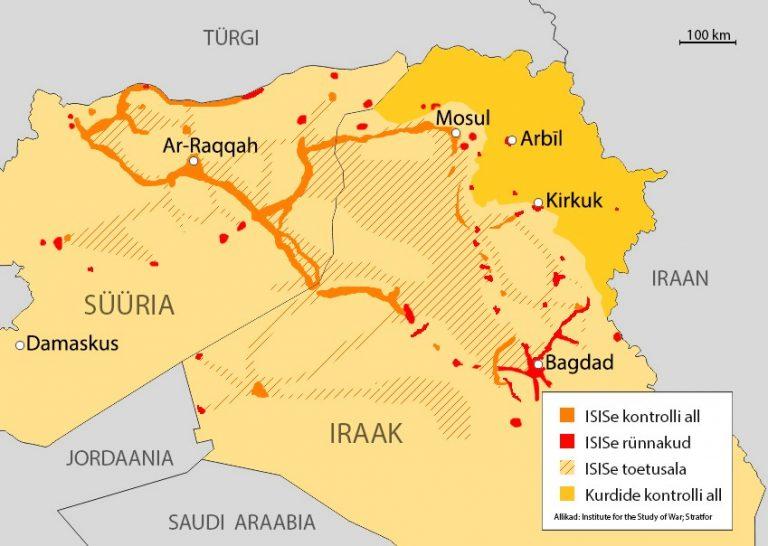 Islamiriigi tegevusala 15. jaanuari seisuga.