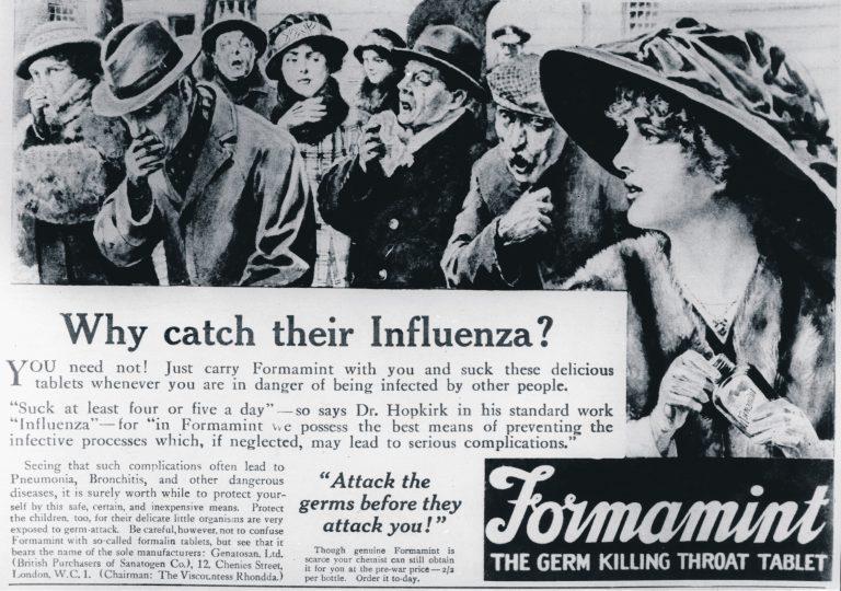 Formamint reklaamis end ajalehes just tabletina, mida tuleb võtta Hispaania gripi vastu.