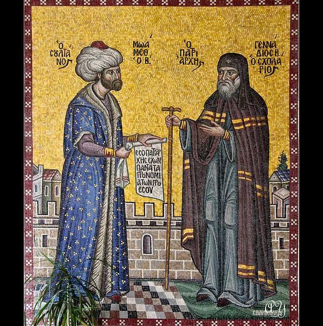 Sultan Mehmet Vallutaja ja Kreeka patriarh Gennadius. Osmanid lubasid pärast Konstantinoopoli vallutamist ortodoksi kirikul tegevust jätkata ja Mehmet kohtus Gennadiusega tavaliselt kirikuuksel.