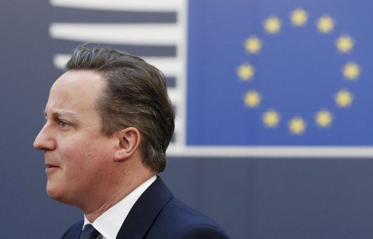 Briti peaminister saabumas Euroopa Liidu Ülemkogu teisele päevale 19. veebruaril 2016.