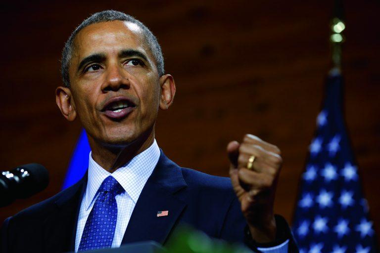 USA president Barack Obama kõnelemas oma Saksamaa visiidi ajal Hanoveris aprillis 2016.