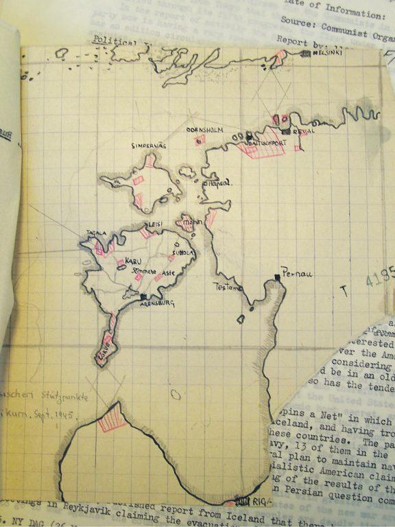 Ruudulisele paberile joonistatud skeem  kujutab Nõukogude sõjalisi tugipunkte 1945. aasta septembri seisuga.