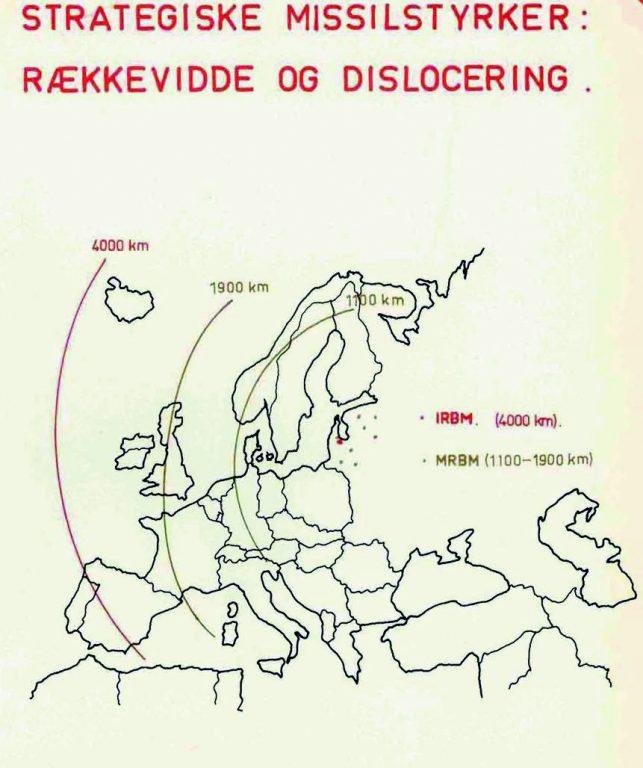 Taani relvajõudude kaart illustreerimaks Baltikumist lähtuvate tuumarakettide ohtu: mitmes kohas paiknevad R-12 8K63U (SS-4 SANDAL) ja R-14 Chusovaja 8K65 (SS-5 SKEAN) Lätis.