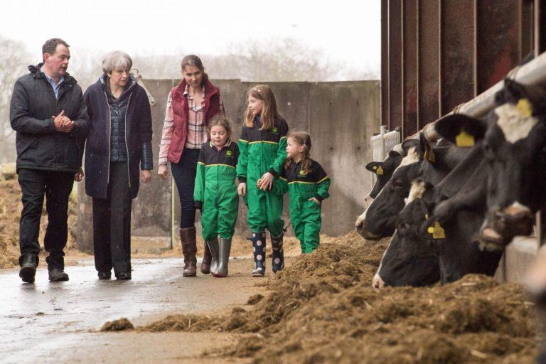 Briti peaminister Theresa May külastamas farmi Põhja-Iirimaal. Euroopa Liidu põllumajandustoetustest ilmajäämine võib Põhja-Iiri põllumeestele raskusi tähendada, ehkki Ühendkuningriik on lubanud puudujäägi kompenseerida.