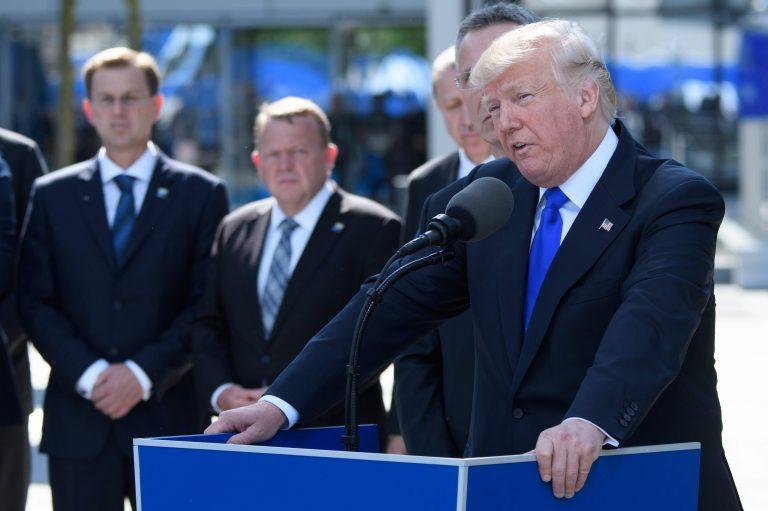 Donald Trump Brüsselis NATO peakorteris kõnet pidamas selle aasta mais.
