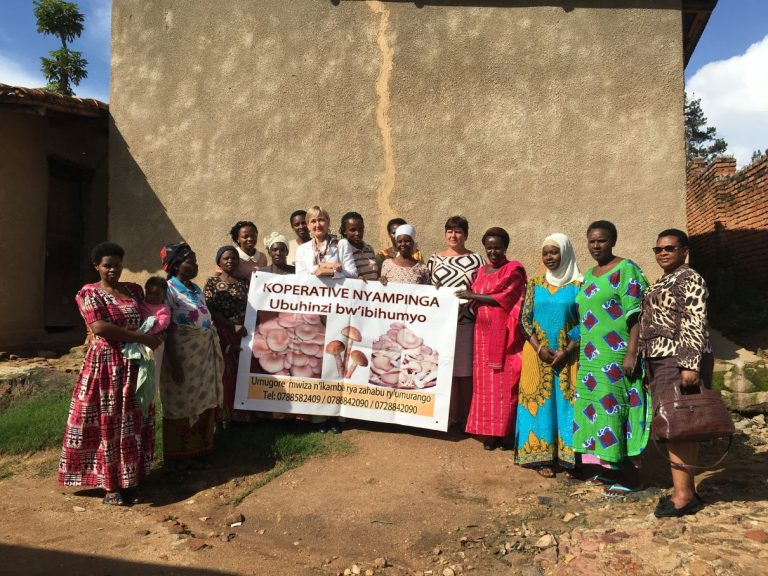 Loo autor Rwanda külanaistega, kelle ainsaks tuluallikaks on seenekasvatus.