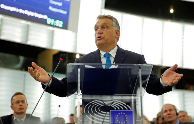 Ungari peaminister Viktor Orbán Euroopa Parlamendi ees kõnet pidamas 11. septembril, päev enne parlamendihääletust.