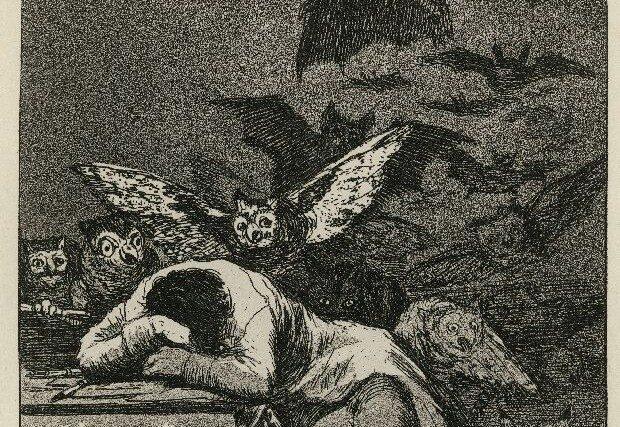 """Üks humanismiajastu võimsamaid kunstiteoseid on Francisco Goya """"Uinuv mõistus sünnitab koletisi""""."""