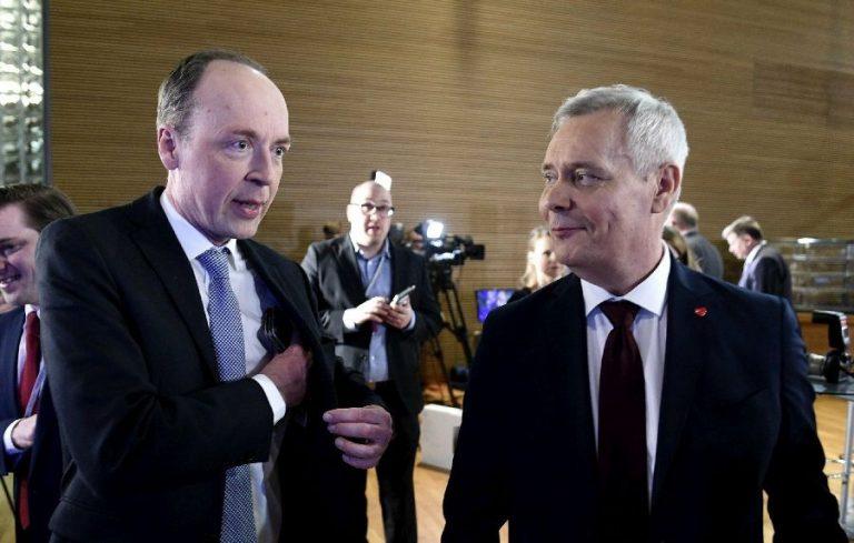 Soome valimiste võitjad: põlissoomlaste juht Jussi Halla-aho (vasakul) ja SDP juht Antti Rinne.