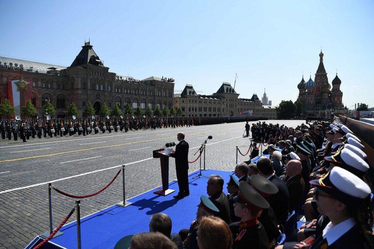 Venemaa president Vladimir Putin pidamas kõnet võiduparaadil Moskvas Punasel väljakul 24. juunil 2020.